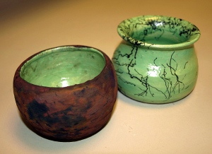 Raku pots created by Sunny Lu and Nina Ma.