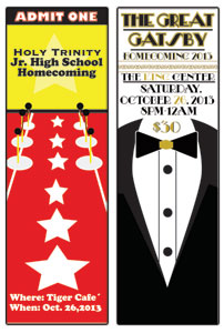 Tickets designed by Graphics Students